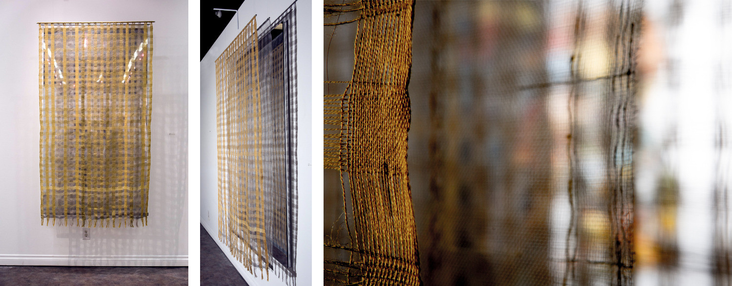 "Portal by Cathy Jacobs, handwoven linen, aluminum screen, mirror, metal hinges, 75"" x 42"" x 12"", 2015."