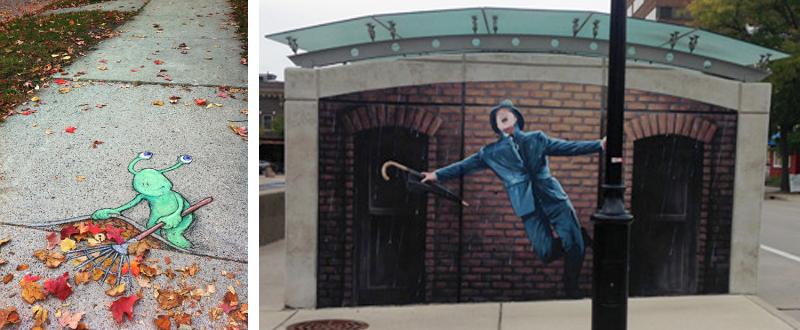 Lazy Leaf Raker (Sluggo) (left), Singing in the Rain at Fifth Avenue, Downtown Ann Arbor (right).