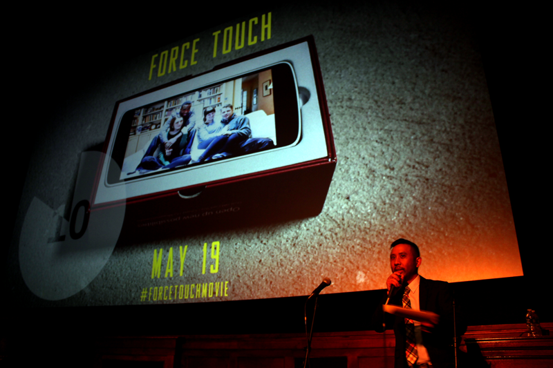 Writer/director Rik Cordero gives the introduction at the world  premiere of Force Touch at the Michigan Theater on Thursday, May 19th.
