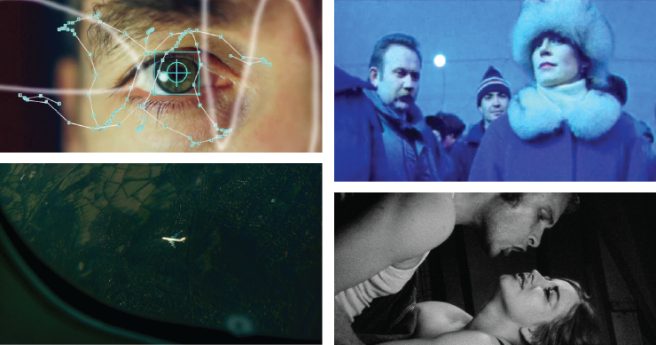 Stills from Caspar Stracke's time/OUT OF JOINT, Chantal Ackerman's From the East, Jem Cohen's Counting, and Curt McDowell's Beaver Fever.