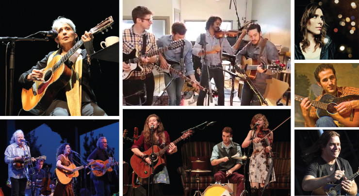 Ann Arbor Folk Festival performers clockwise from top left: Joan Baez, Darlingside, Rose Cousins, Joshua Davis, Alan Doyle, The Accidentals, and Cooder – White – Skaggs