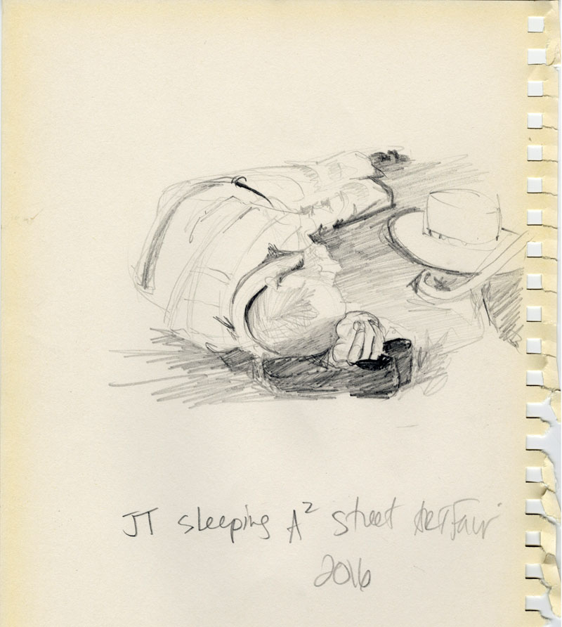 JT Sleeps sketch by Karin Wagner Coron.