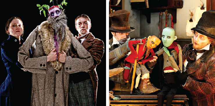 The puppets of Christmas past, present, and future visit Scrooge in the National Theatre of Scotland's A Christmas Carol