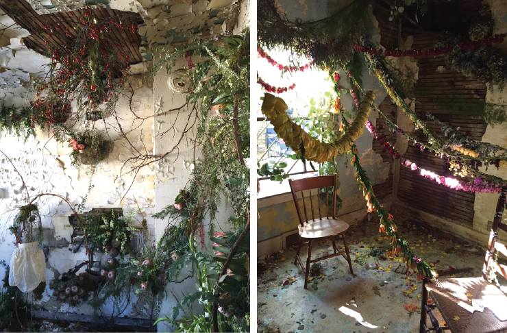 Each room of the house was filled with a different floral installation