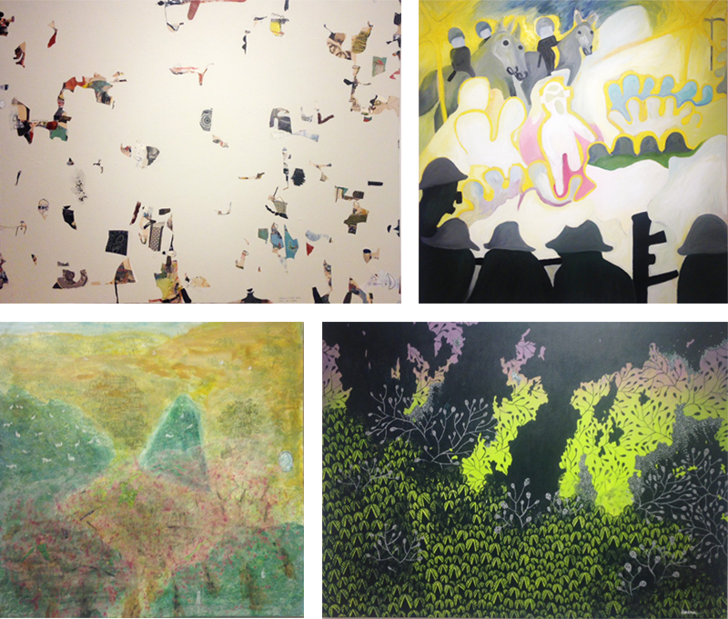 Drawing a Blank by John McLaughlin (top left), Night Demonstration by Rocco DePietro (top right),<br /> Exist, Co-Exist: Harmony 2 by Yuling Chuang (bottom left), Embrace by Haena Kang (bottom right).