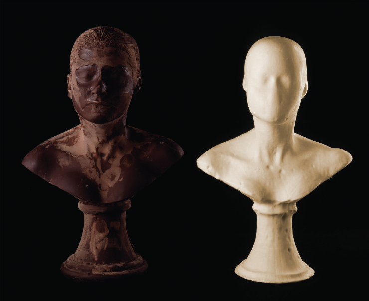 Janine Antoni Lick and Lather, 1993, Two self-portrait busts: one chocolate and one soap, Photo by John Bessler