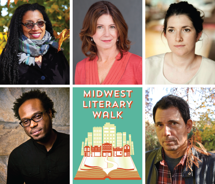 This year's Midwest Lit Walk features (clockwise from lower left): Jamaal May, Robin Coste Lewis, Paula McLain, Claire Vaye Watkins, and Christopher Sorrentino.