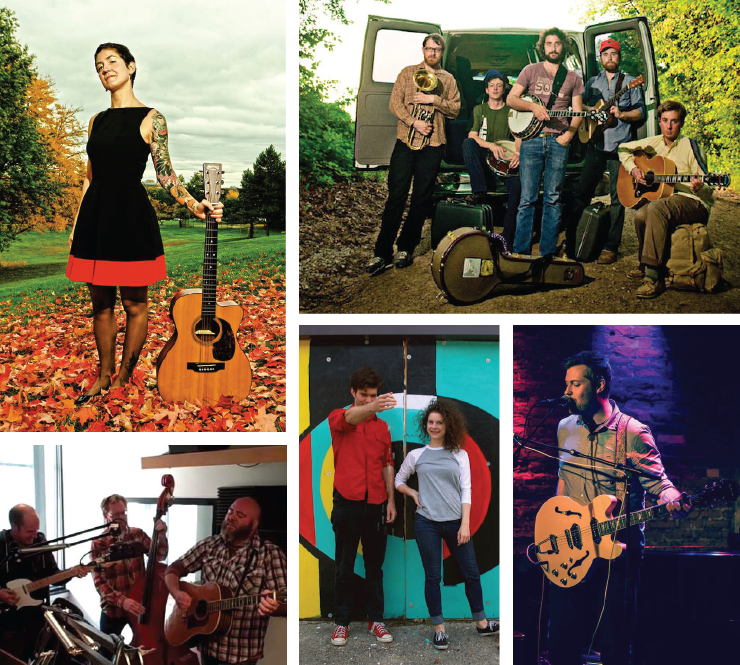 Mittenfest X's lineup includes (clockwise from upper left): Misty Lyn & the Big Beautiful, Frontier Ruckus, Chris Bathgate, The Kickstand Band, and The Bootstrap Boys
