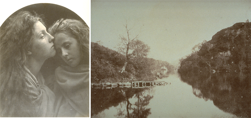 The Kiss of Peace, circa 1865 [albumen print on paper] by Julia Cameron. Loch Katrine, from Sun Pictures in Scotland, 1844 [calotype on paper] by William Henry Fox Talbot. Images courtesy of the University of Michigan Museum of Art.