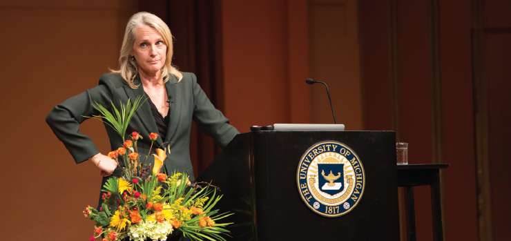 Piper Kerman speaking at Rackham Auditorium