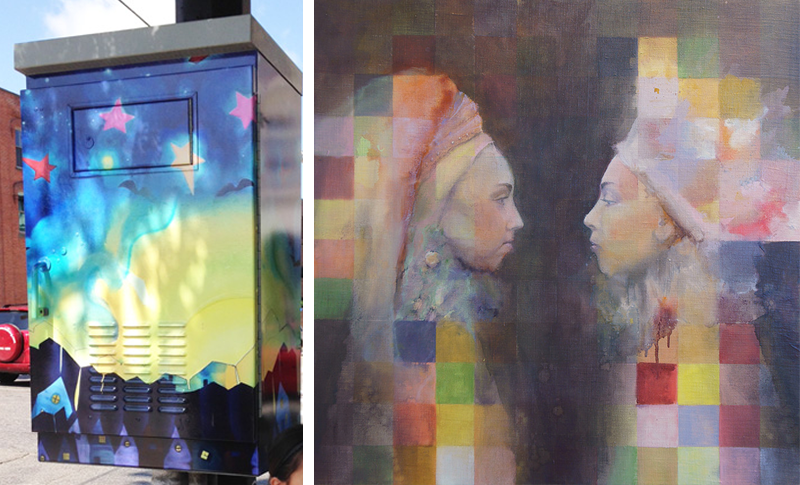 "PowerArt box design by Cathy Jacobs (left) Interface I by Cathy Jacobs, oil on canvas, 36"" x 36"" 2012 (right)"