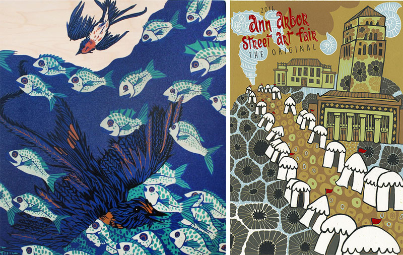 Swallows Overwintering Underwater (left) and Ann Arbor Street Art Fair, the Original poster (right)– both by Jenny Pope.