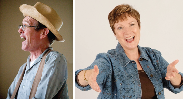 Storytellers Kevin Kling (left) and Yvonne Healy (right).