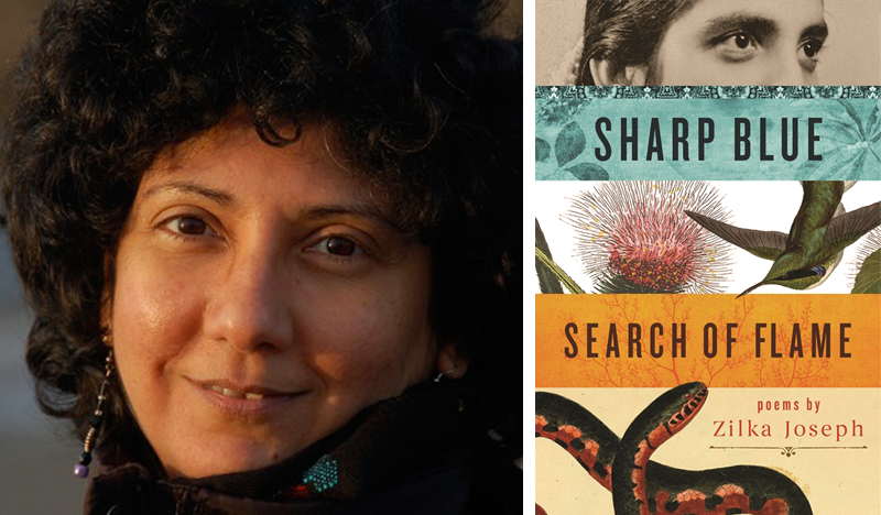 Zilka Joseph (left) and her book Sharp Blue Search of Flame (right).