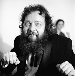 Donald Hall making a pig of himself