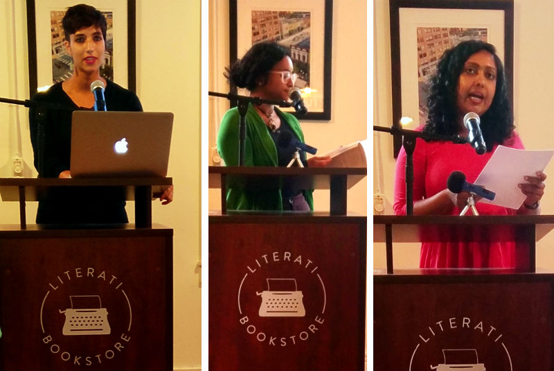 Ambalila Hemsell, Tarfia Faizullah, Ashwini Bhasi reading at Literati as part of Rasa Festival