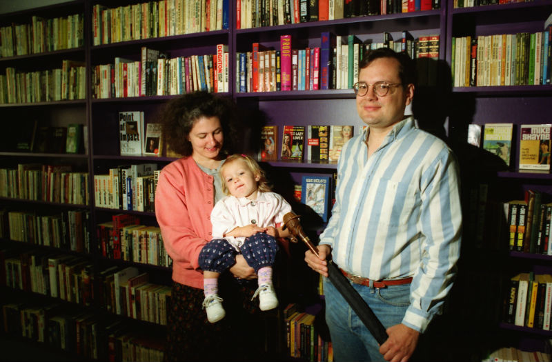 October 5, 1992: Jamie, right, and Robin Agnew (shown with their daughter, Margaret) soon after they opened Aunt Agatha's bookstore.
