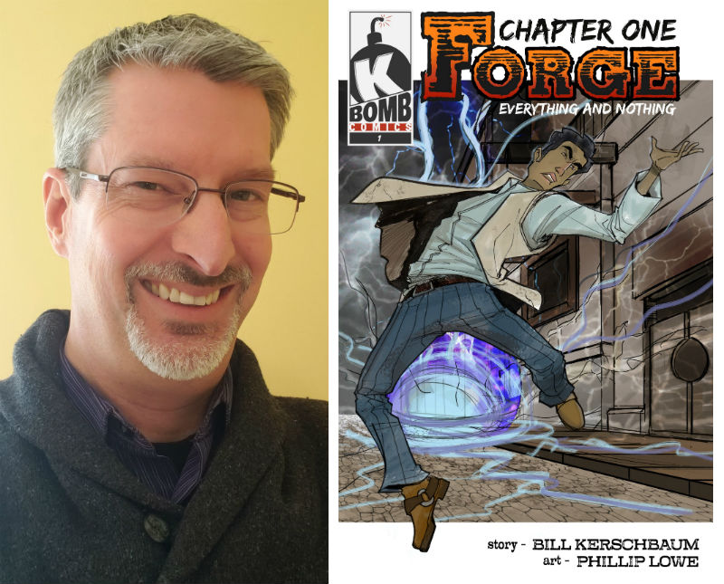 Bill Kerschbaum and the cover from the first chapter of Forge