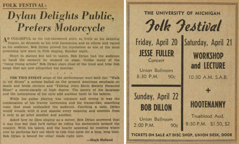 Bob Dylan ad and live review, Michigan Daily, 1962