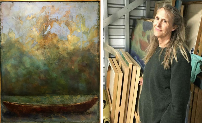Candace Compton Pappas and her Adrift as Dusk painting