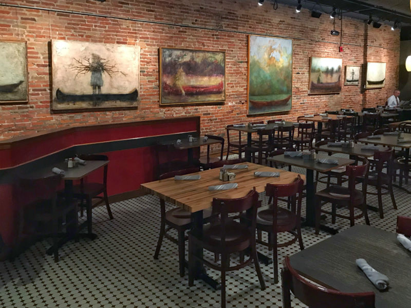 Candace Compton Pappas' paintings inside Cafe Zola