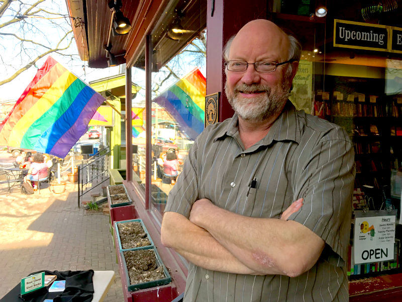 Common Language bookstore co-owner Keith Orr stands outside his store