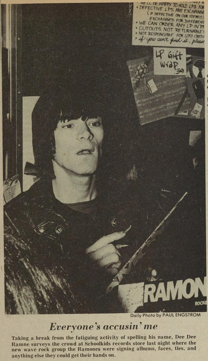Dee Dee Ramone at Schoolkid's Records, 1979