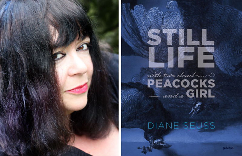 Diane Seuss with her book Still Life with Two Dead Peacocks and a Girl