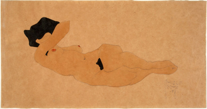 Egon Schiele, Reclining Black-haired Female Nude, Right Arm Covering Face, 1908, watercolor on brown paper. University of Michigan Museum of Art, Gift of the Ernst Pulgram and Frances McSparran Collection, 2018/2.3