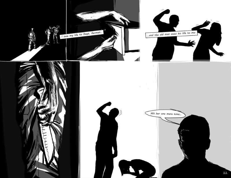 A panel from German Andino's graphic-journalism story The Habit of Silence