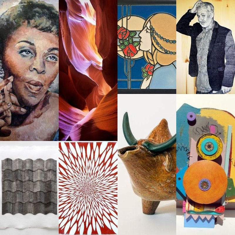 A collage of Gifts of Art exhibitions running through March 2018