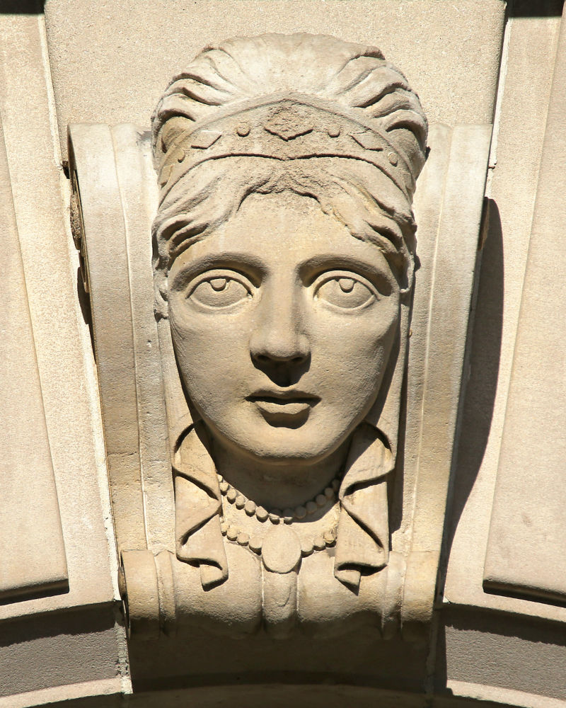 Portrait busts on the Book-Cadillac Hotel from the book Guardians of Detroit