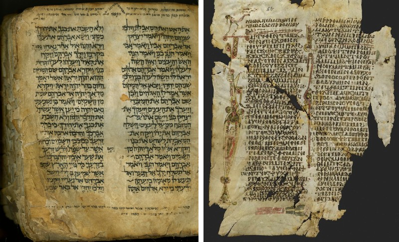 Pages from Hebrew and Coptic manuscripts