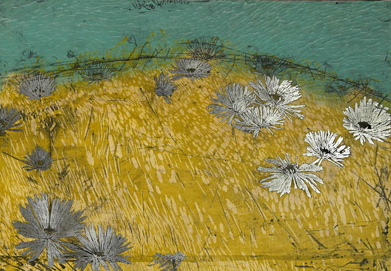 Helen Gotlib, Sea Ranch Flower IV painting detail