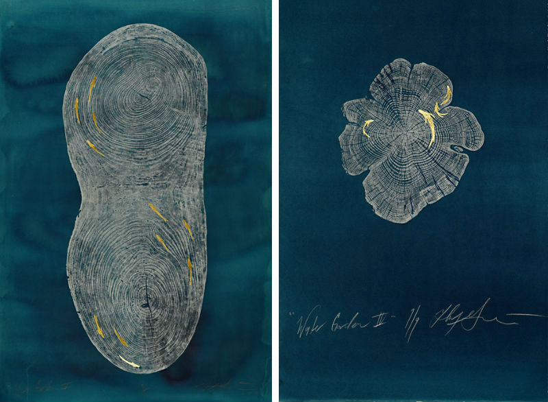 Two paintings by Helen Gotlib from her Water Garden series