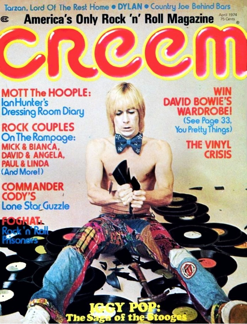 Iggy Pop on the cover of the April 1974 issue of Creem.