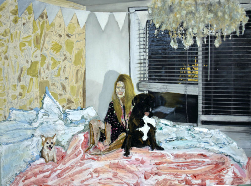 "Justin Marshall's painting ""Nicollett and Rex and Lilli"""