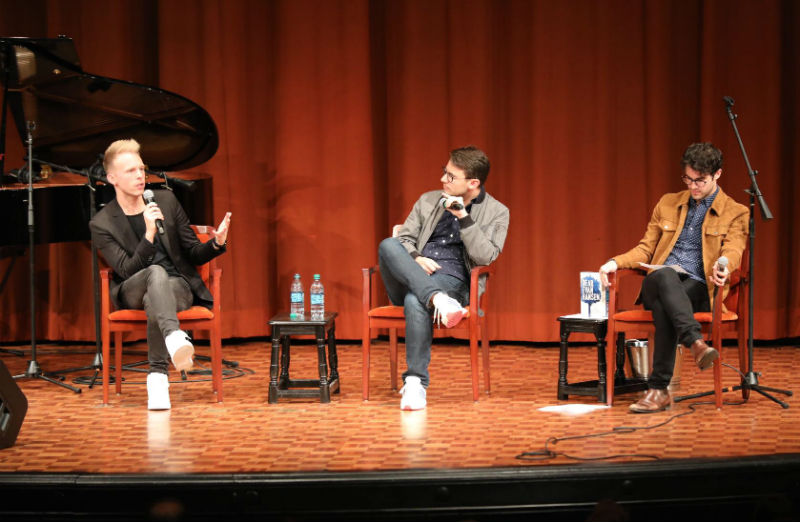 Justin Paul, Benj Pasek and Darren Criss on stage at U-M's Rackham Auditorium