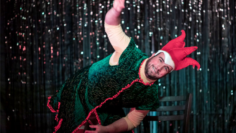 Yianni Papadimos in Kickshaw Theatre's production of The Santaland Diaries