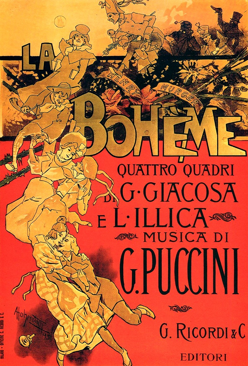 Original 1896 poster of La boheme by Adolfo Hohenstein