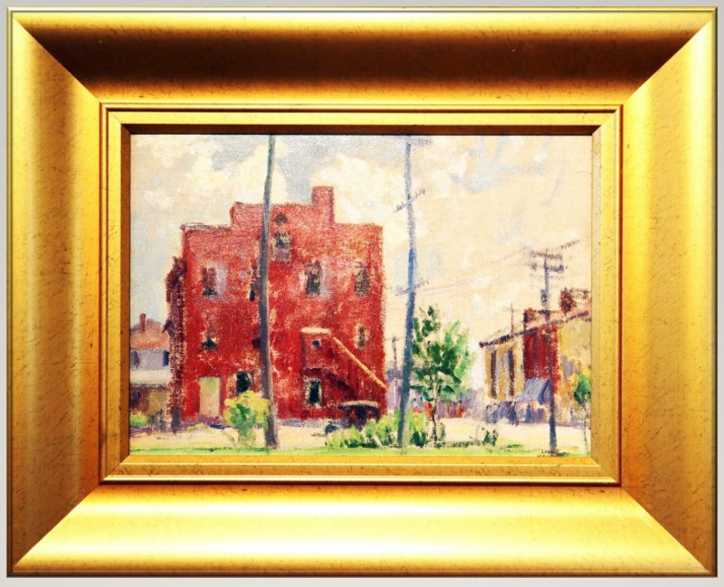 Leon Makielski's Broadway painting, featuring Broadway Street in Ann Arbor, looking south.
