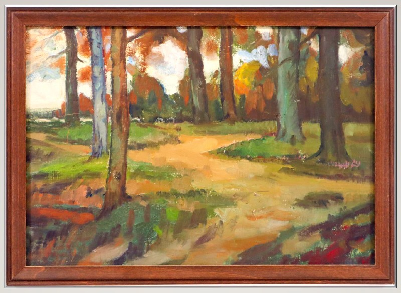 Leon Makielski painting Woods in Autumn