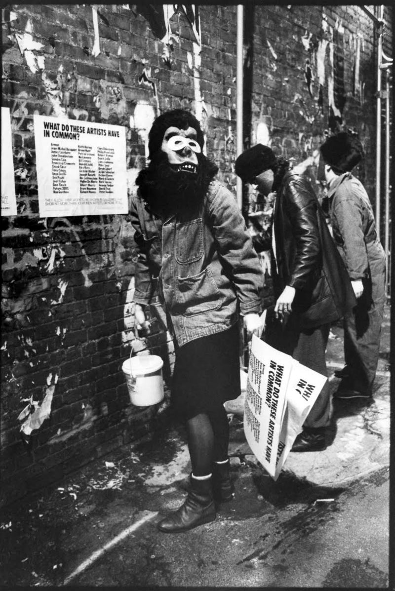 Lori Grinker, Manhattan 1985 - Guerrilla Girls, black and white photograph.