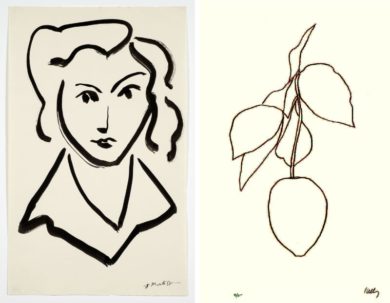 Head of a Woman by Henri Matisse; Lemon-Citron by Ellsworth Kelly