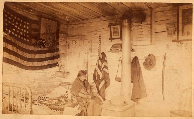 Pretty Owl seated in Red Cloud's cabin George E. Trager Albumen photograph, 1891