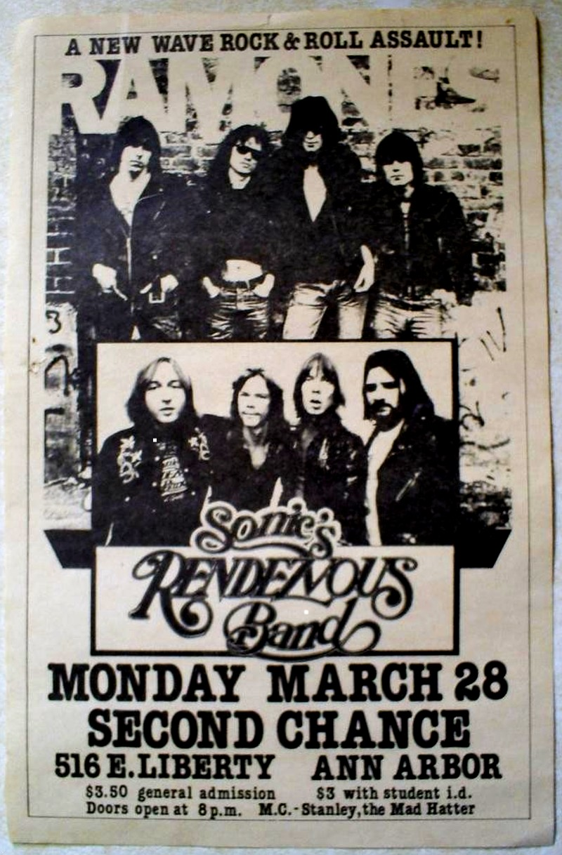 Flyer for the first Ramones concert in Ann Arbor, March 28, 1977.