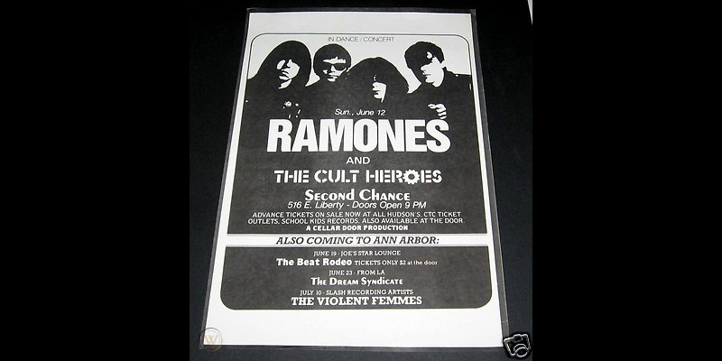 Flyer for The Ramones and The Cult Heroes concert at The Second Chance, Ann Arbor, June 5, 1983.