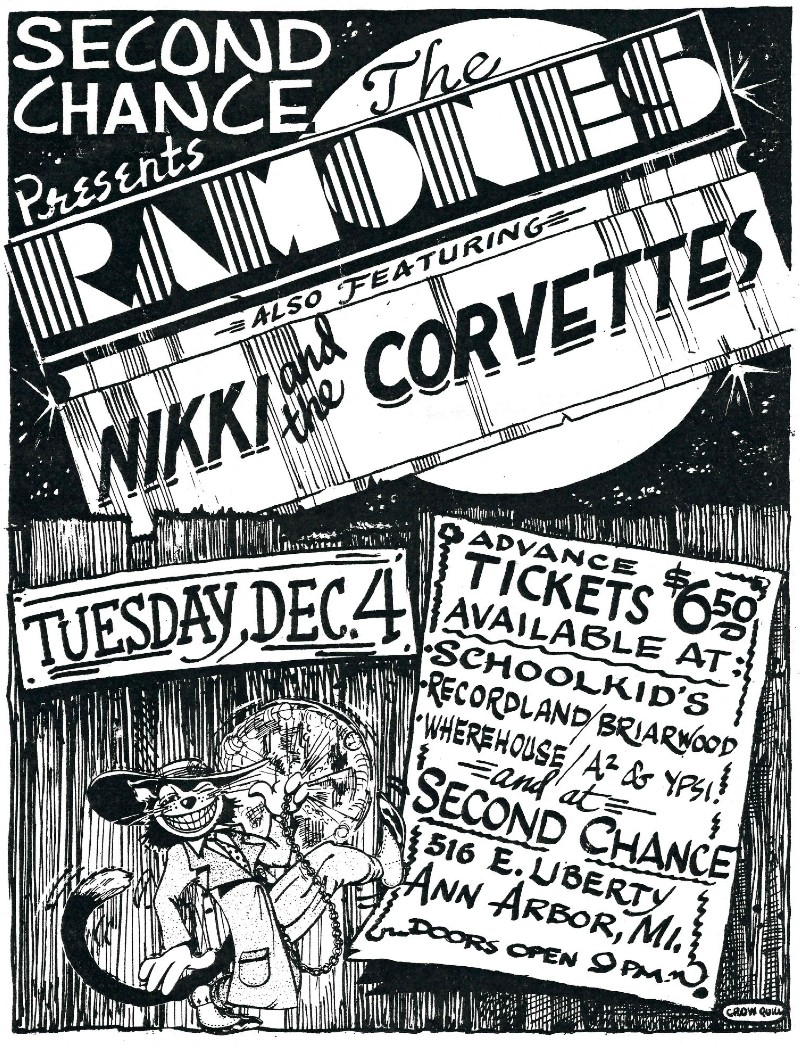 Flyer for The Ramones and Nikki and The Corvettes at The Second Chance, Ann Arbor, December 4, 1979.