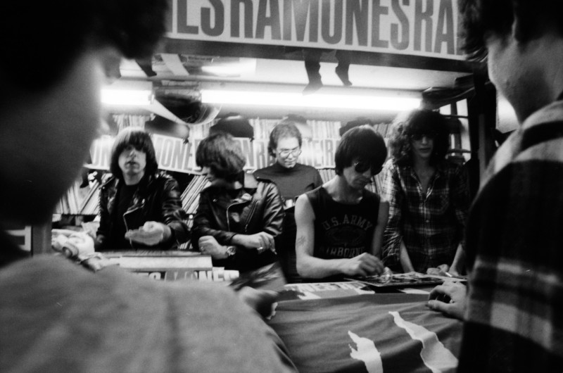 The Ramones sign autographs at Schoolkid's Records on October 5, 1981.
