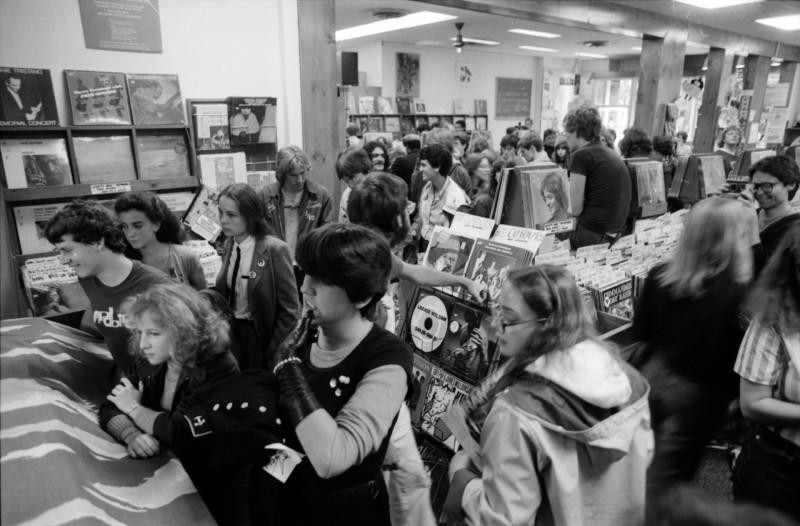 Interior of Schoolkid's Records' on October 5, 1981, during The Ramones' in-store.